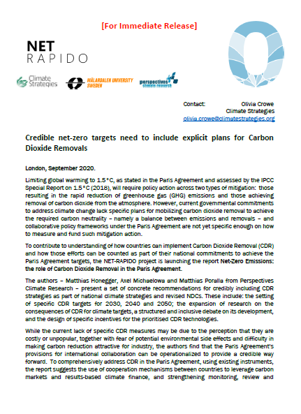 Press release: Credible net-zero targets need to include explicit plans for Carbon Dioxide Removals
